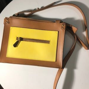 ASOS Tan & Yellow Square Leather Crossbody Purse